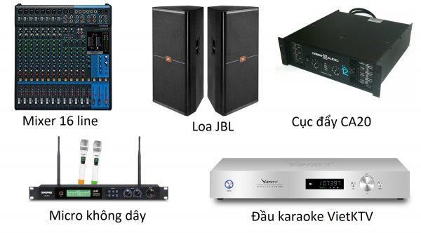 Bộ karaoke 2 loa 2000w 2 mic không dây công suất bàn chỉnh đầu karaoke