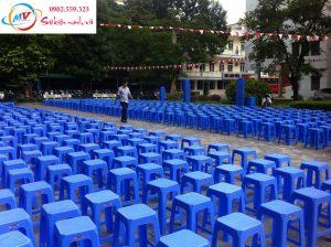 Cho thuê ghế nhựa cao xanh đỏ cho sự kiện
